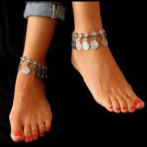 New silver hobo dangling ankle bracelet